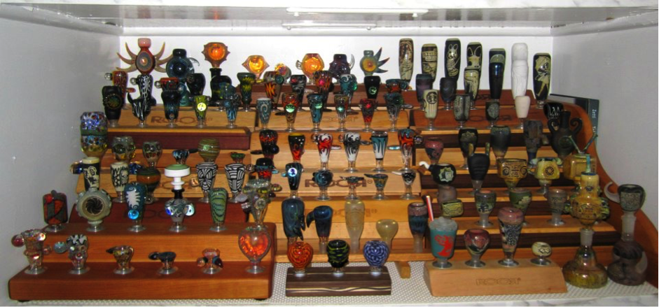 collection of pipes, glass and bongs