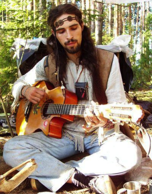 Sunday hippie in full festival attire