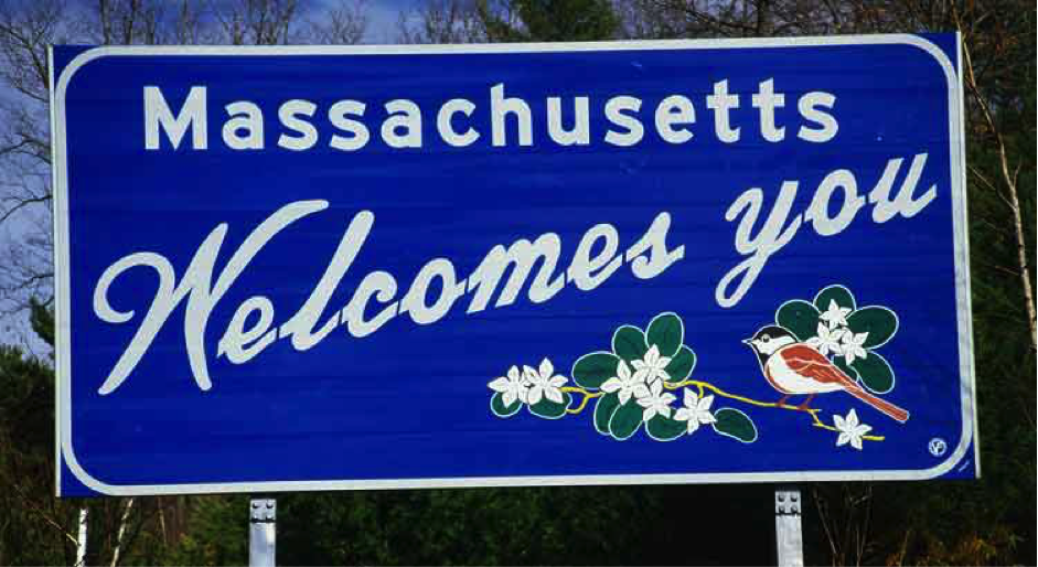 Massachusetts sign post