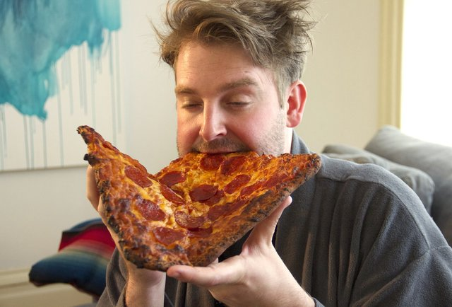 too high eating pizza