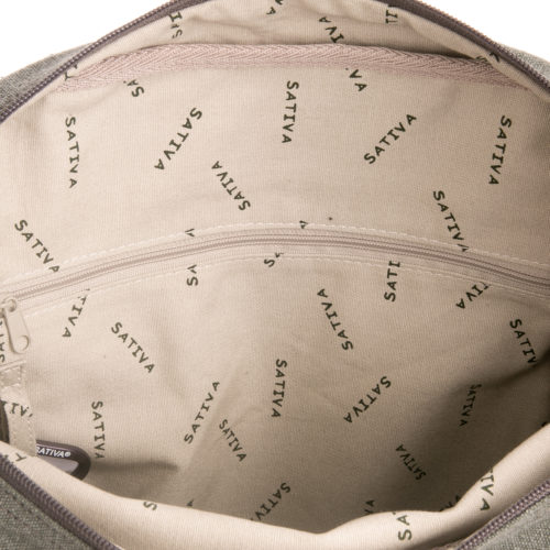 Buy Sativa Hemp Large A4 Shoulder Bag Grey Inside